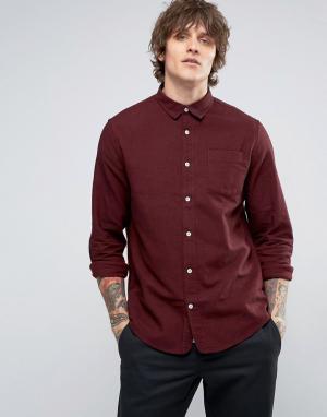 Hoxton Shirt Company Рубашка узкого кроя из саржи с начесом. Цвет: красный