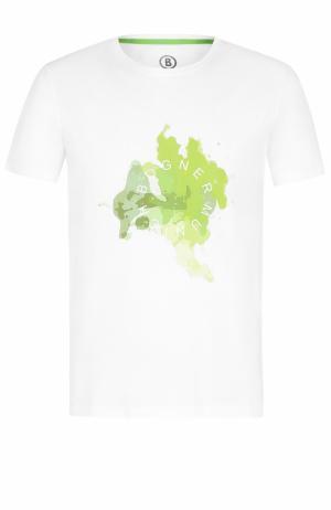 Хлопковая футболка с принтом Bogner. Цвет: белый