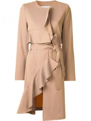 Асимметричное пальто с рюшами Goen.J. Цвет: коричневый