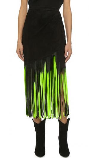 Фирменная юбка с бахромой Tamara Mellon. Цвет: черный/неоновый зеленый