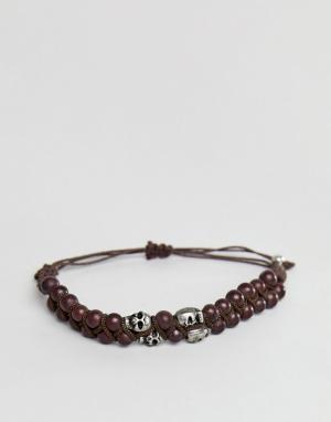 ASOS Коричневый браслет из бусин с черепами DESIGN. Цвет: коричневый