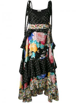 Многоярусное платье Carmen Attico. Цвет: многоцветный