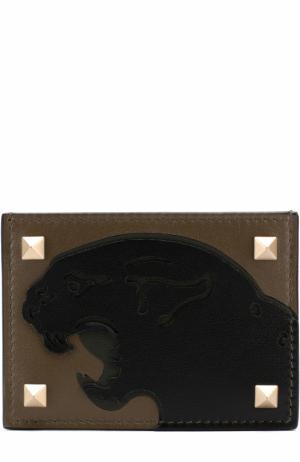 Кожаный футляр для кредитных карт с аппликацией Valentino. Цвет: хаки