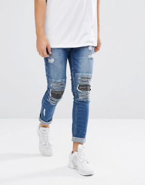 Brooklyns Own Байкерские джинсы скинни с рваной отделкой и камуфляжным принтом на. Цвет: синий