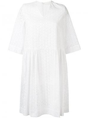 Платье с вышивкой Peter Jensen. Цвет: белый