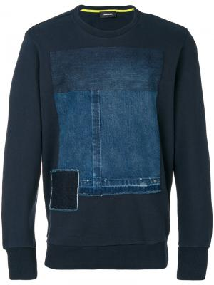 Толстовка с джинсовой вставкой Diesel. Цвет: синий