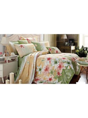 Постельное белье Fresh 1,5 сп. Amore Mio. Цвет: бежевый, белый, зеленый, розовый