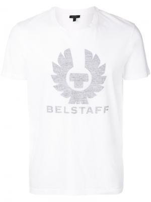 Футболка с принтом логотипом Belstaff. Цвет: белый