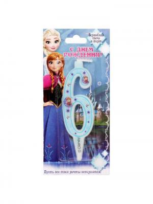 Свеча в торт, Холодное сердце Disney. Цвет: светло-голубой, молочный