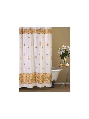 Штора для ванной комнаты 178х180см. Афина бежевая NIKLEN. Цвет: бежевый, белый