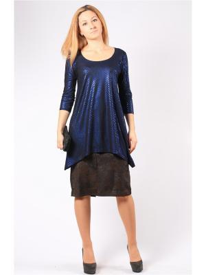 Блузка BERKANA. Цвет: синий, черный