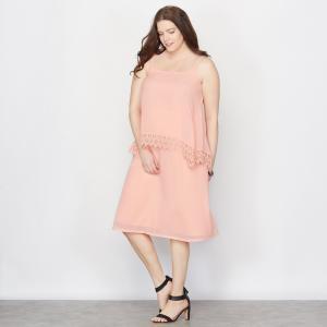 Платье с тонкими бретелями TAILLISSIME. Цвет: персиковый