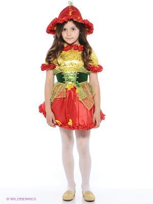 Карнавальный костюм Дюймовочка Батик. Цвет: красный, лазурный