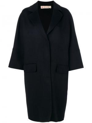 Однобортное пальто-кокон Marni. Цвет: чёрный