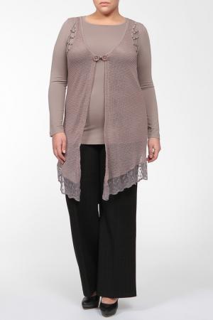 Комплект: туника, блузка Zer otantik. Цвет: бежевый