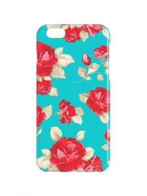 Чехол для iPhone 6Plus Малиновые розы на бирюзовом Арт. 6Plus-259 Chocopony. Цвет: малиновый, бирюзовый