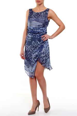 Шелковое платье с ассиметричным подолом Caractere. Цвет: синий