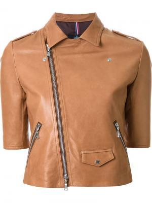 Байкерская куртка с укороченными рукавами Guild Prime. Цвет: коричневый