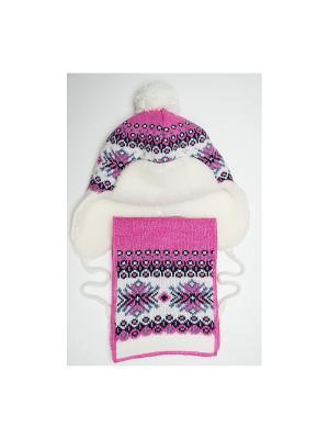 Шапка, шарф Tricotier. Цвет: фуксия, белый
