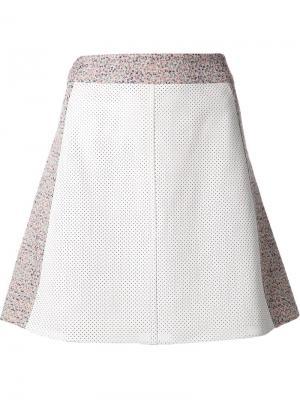 Перфорированная мини-юбка Tess Giberson. Цвет: белый