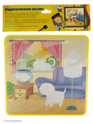 Домашние животные: водораскраски-пазлы Феникс-Премьер. Цвет: желтый