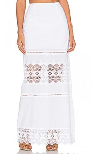 Кружевная юбка макси diamond Nightcap. Цвет: белый