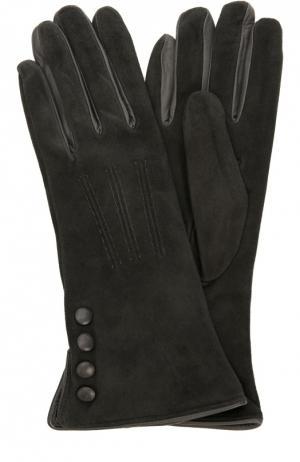 Замшевые перчатки с отделкой из кожи Sermoneta Gloves. Цвет: серый
