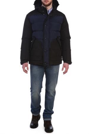 Полуприлегающая куртка с капюшоном XASKA. Цвет: черный, синий