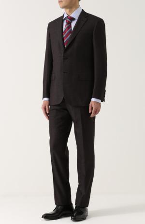 Шерстяной костюм с пиджаком на двух пуговицах Brioni. Цвет: коричневый