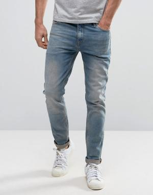 ASOS Выбеленные голубые джинсы скинни. Цвет: синий
