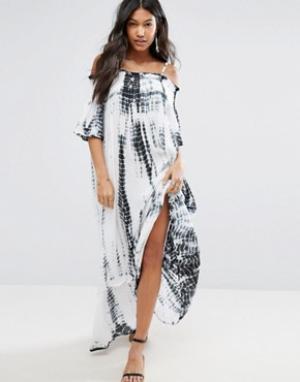 Anmol Пляжное платье макси с открытыми плечами и принтом тай-дай. Цвет: синий