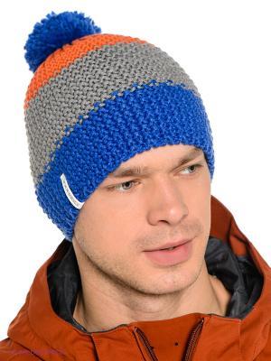 Шапка BREKKA. Цвет: синий, оранжевый