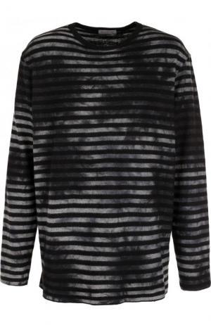 Шерстяной джемпер свободного кроя в контрастную полоску Yohji Yamamoto. Цвет: темно-серый