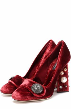 Бархатные туфли Jackie на декорированном каблуке Dolce & Gabbana. Цвет: бордовый