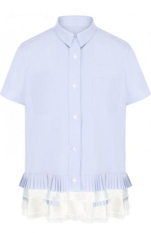 Блуза свободного кроя с коротким рукавом и оборками Sacai. Цвет: голубой