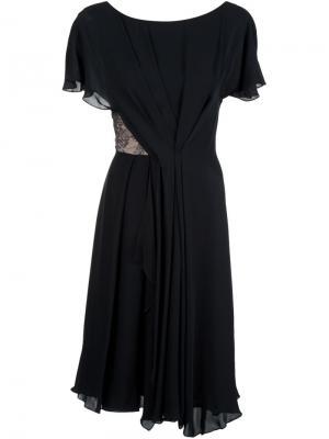 Расклешенное платье с кружевной вставкой Jason Wu. Цвет: чёрный