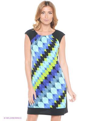 Платье London Times. Цвет: синий, салатовый, голубой, черный