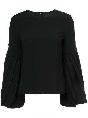 Блузка с плиссировками на рукавах Brandon Maxwell. Цвет: чёрный