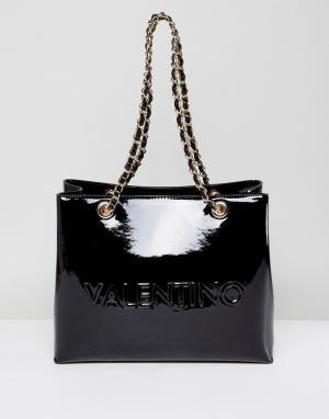 Valentino by Mario Черная лакированная сумка-тоут. Цвет: черный