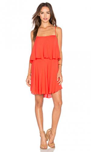 Платье с двумя ярусами Haute Hippie. Цвет: красный