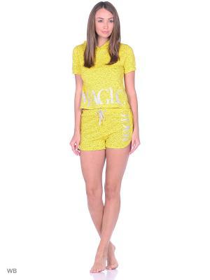 Комплект: футболка с капюшоном, шорты NAGOTEX. Цвет: желтый