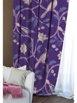 Штора (1шт.) Волшебная ночь 150см*270см, ткань-Блэкаут, стиль-Этно, дизайн-Fairy Forest. Цвет: красный