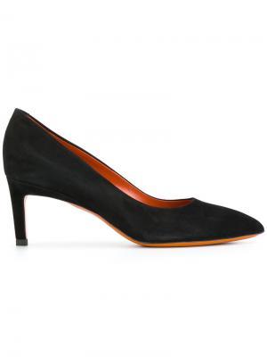Туфли с заостренным носком Santoni. Цвет: чёрный