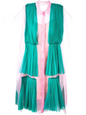 Плиссированное платье-рубашка Delpozo. Цвет: розовый и фиолетовый