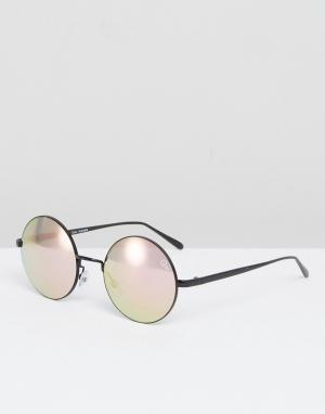 Quay Australia Круглые солнцезащитные очки с черными зеркальными стеклами Austra. Цвет: черный