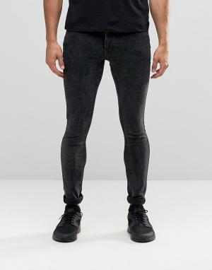 Antioch Облегающие мраморные джинсы. Цвет: черный