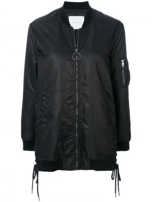 Куртка-бомбер со шнуровкой Gaelle Bonheur. Цвет: чёрный