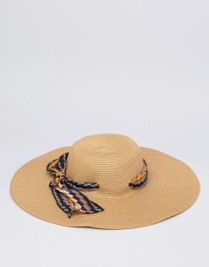 Boardwalk Широкополая женская шляпа с шарфом Boardmans. Цвет: кремовый