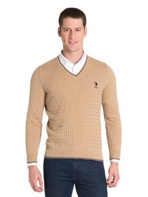 Пуловер U.S. Polo Assn.. Цвет: светло-коричневый