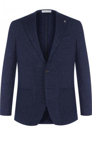 Однобортный пиджак из смеси хлопка и льна Sartoria Latorre. Цвет: темно-синий